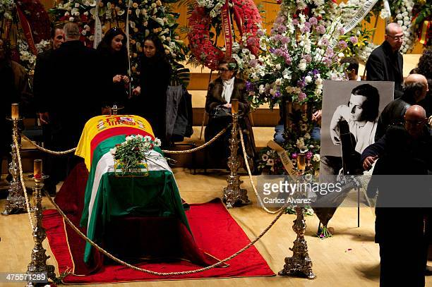 Visitors pay their respects to late Spanish Flamenco guitarist Paco de Lucia as his body lies in state at the National Music Auditorium on February...