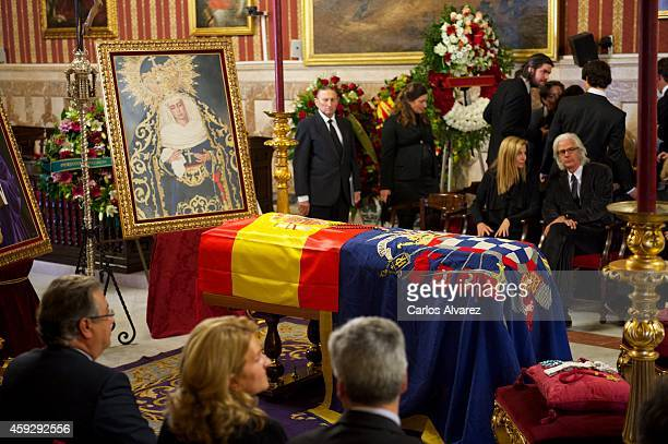 Visitors pay their respects to Spain's Duchess of Alba as her body lies in state at the Seville's City Council on November 20 2014 in Seville Spain...