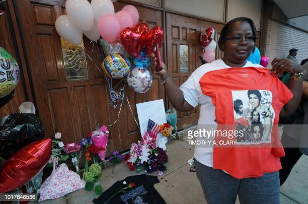 Visitors pay they respects at a temporary memorial set up for late singer Aretha Franklin at New Bethel Baptist Church in Detroit Michigan on August...