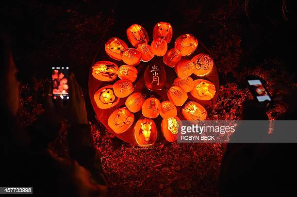 Visitors photograph a display of Chinese zodiac animals at the 'Rise Of The Jack O'Lantern'' exhibition at Descanso Gardens in La Canada Flintridge...