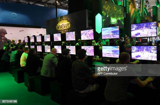d16063d07b24 Visitors play computer games during gaming fair gamescom in Cologne western  Germany on August 22 2017