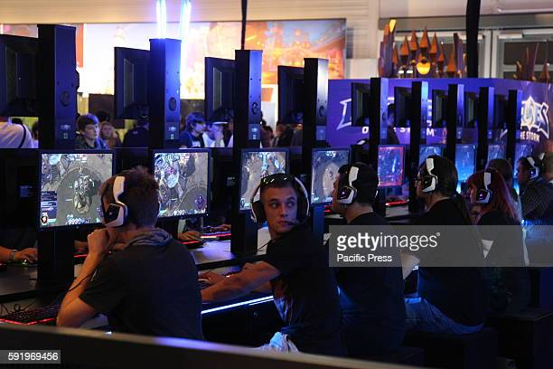 Visitors play the game Heroes of the Storm at the Gamescom fair Gamescom the Worlds largest Gaming Fair Gamescom is a trade fair for video games held...