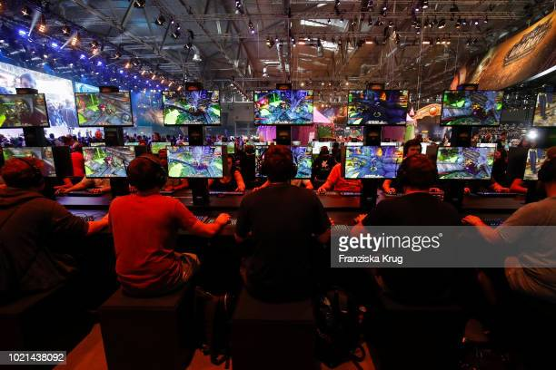 9d74e04259a1 Visitors playing at the Gamescom 2018 gaming trade fair on August 22 2018  in Cologne Germany