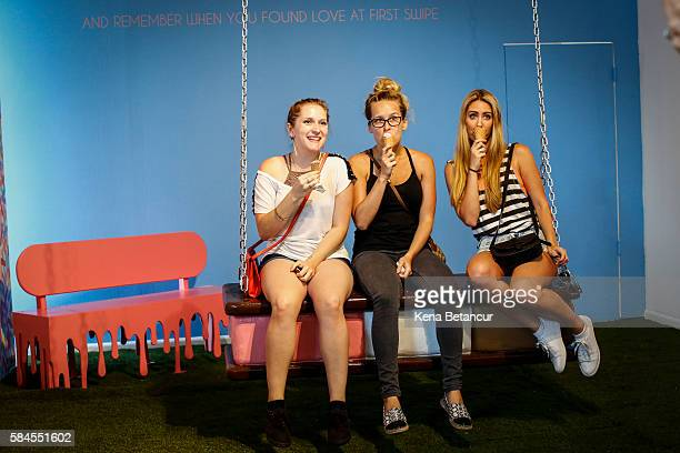 Visitors pose as they visit the Museum of Ice Cream across from the Whitney Museum on July 29 2016 in New York City The temporary museum dedicated to...