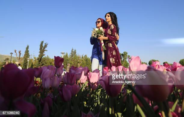 Visitors pose for a photo in a tulips garden arranged by municipality staff at Azadi Park in Sulaymaniyah Iraq on April 20 2017