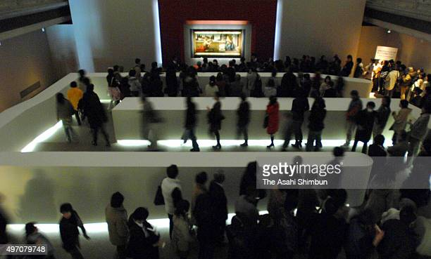 Visitors queue for watching the 'Annunciation' during the Leonardo da Vinci Exhibiiton at the Tokyo National Museum on March 20 2007 in Tokyo Japan