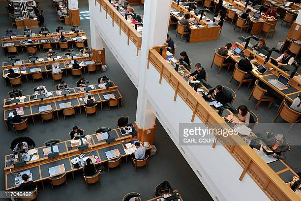 Visitors read in the British Library in central London on June 20 2011 Works including pamphlets about Marie Antoinette and an account of a stuffed...