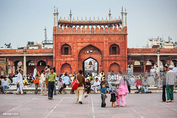 Visitors Rest at Jama Masjid Mosque Delhi India