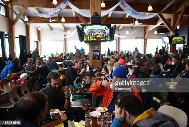 Visitors rest in the Hanazono 308 cafeteria at the Niseko Hanazono resort operated by Nihon Harmony Resorts KK in Kutchan Hokkaido Japan on Sunday...