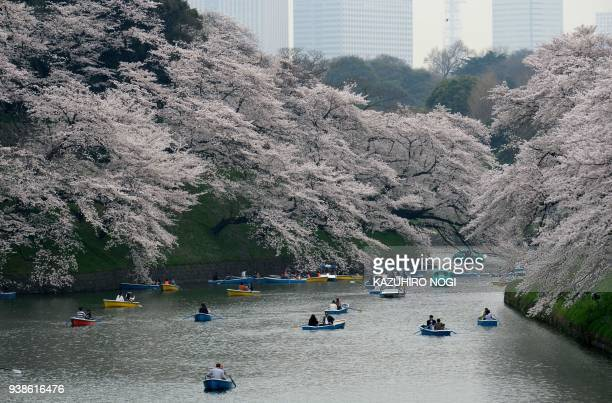 TOPSHOT Visitors row boats past cherry blossoms in full bloom in the Japanese capital Tokyo on March 27 2018 / AFP PHOTO / Kazuhiro NOGI