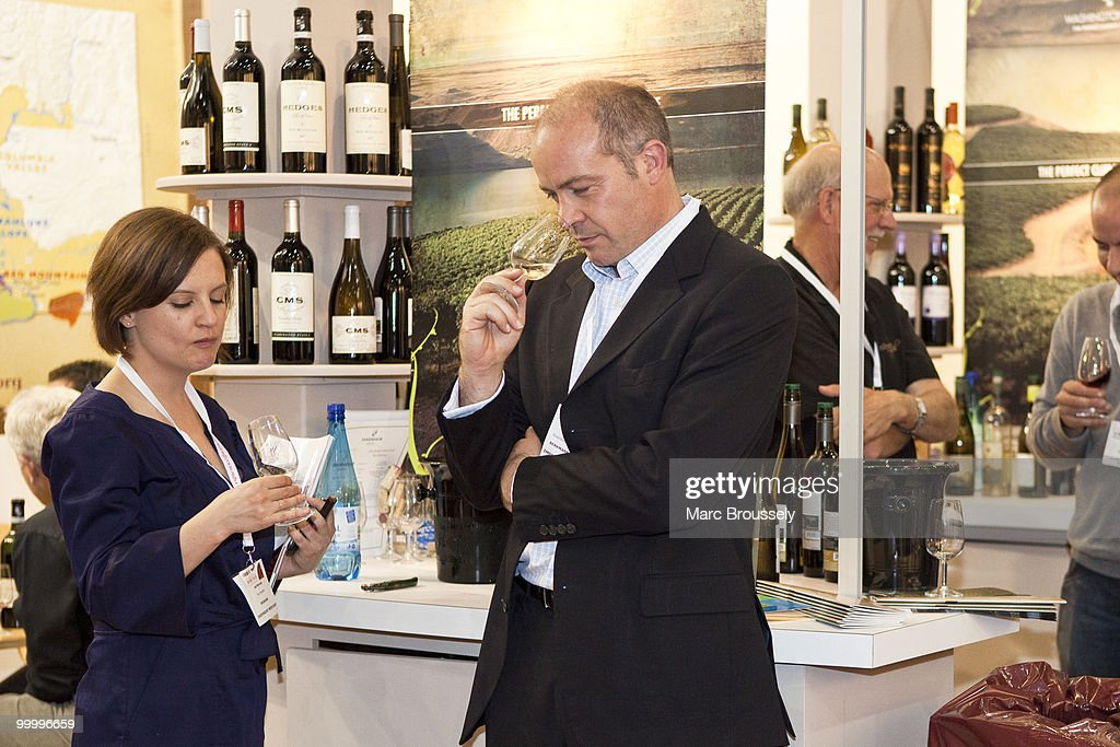 Visitors sample the wines at the London International Wine Fair 2010 at ExCel on May 19, 2010 in London, England. The fair runs through May 20.