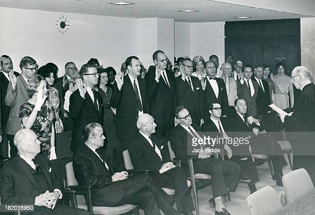 EXPERIMENT Visitors seated in front are from left Sigurd Larmon Milton Rector Judge Irving Cooper Sol Rubin Jeff Glen Judge Alfred Murrah