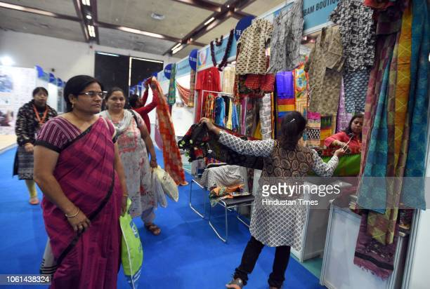 Visitors seen at Khadi India Pavilion during the 38th India International Trade Fair 2018 at Pragati Maidan on November 14 2018 in New Delhi India...