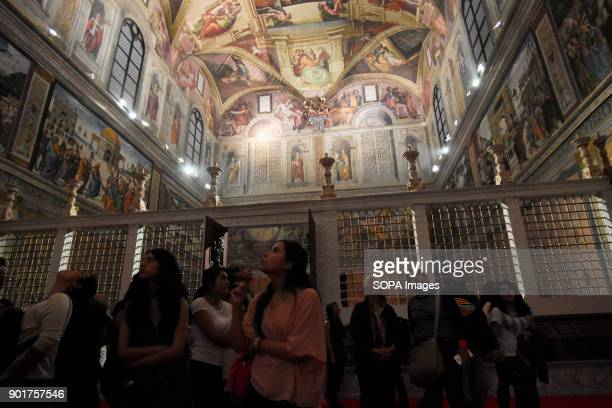 Visitors seen at the Chapel The Replica of the Sistine Chapel An replica exact and actual size of the building located on the right side of Basilica...