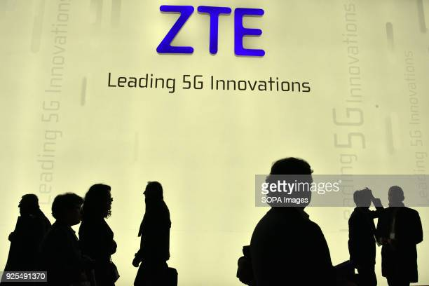 Visitors seen next to the ZTE stand during the Mobile World Congress The Mobile World Congress 2018 is being hosted in Barcelona from 26 February to...