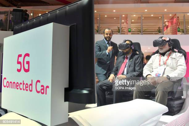 Visitors seen trying out the virtual reality goggles during the Mobile World Congress The Mobile World Congress 2018 is being hosted in Barcelona...