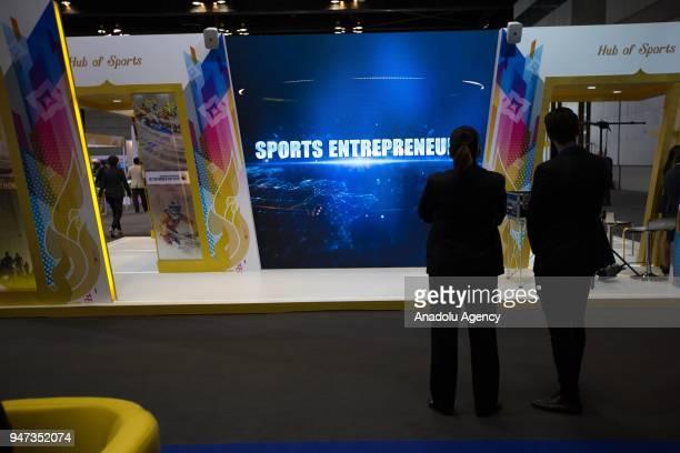 Visitors seen watching a monitor during the third day of Sport Accord 2018 at the Centara Grand Bangkok Convention Centre in Bangkok Thailand on...