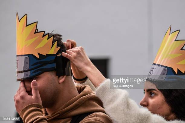 Visitors seen wearing a crown from the Naruto comic Opening of the 36th Barcelona International Comic Fair from 12th15th April 2018 in Fira Barcelona...