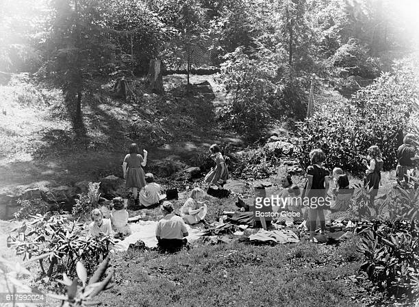 Visitors sit on the hillside on a spring day at Arnold Arboretum in Boston on May 11 1955