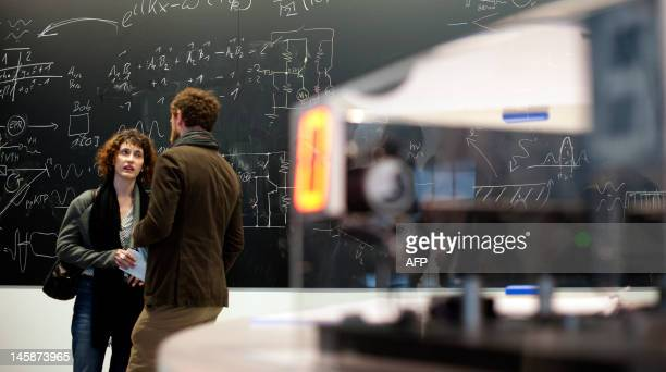 Visitors stand in front of a blackboard with physical theorems as in foreground can be seen the work Quanta Now by Austrian physicist Anton Zeilinger...