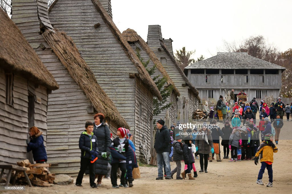 Visitors stream through Plimoth Plantation in Plymouth, MA ...