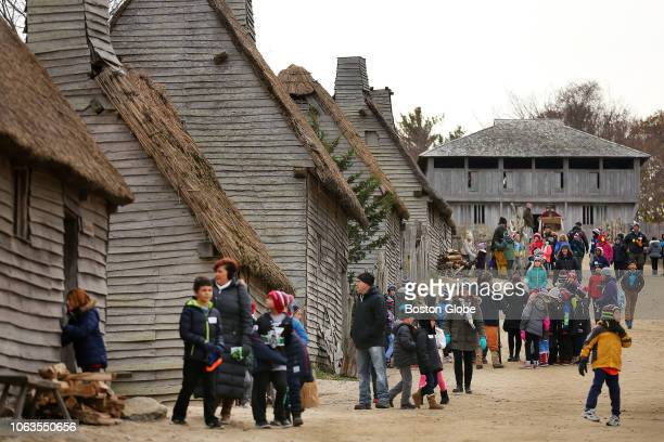 Visitors stream through Plimoth Plantation in Plymouth MA on Nov 15 2018 On a recent day at Plimoth Plantation the storied recreation of a 1620s...