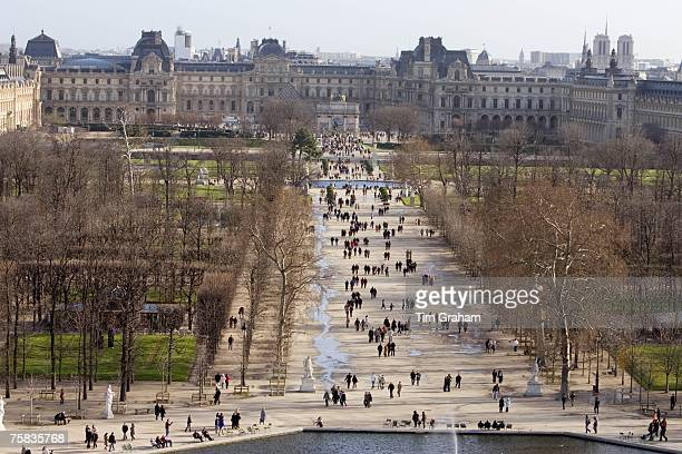 Visitors stroll through Jardin des Tuileries Paris France
