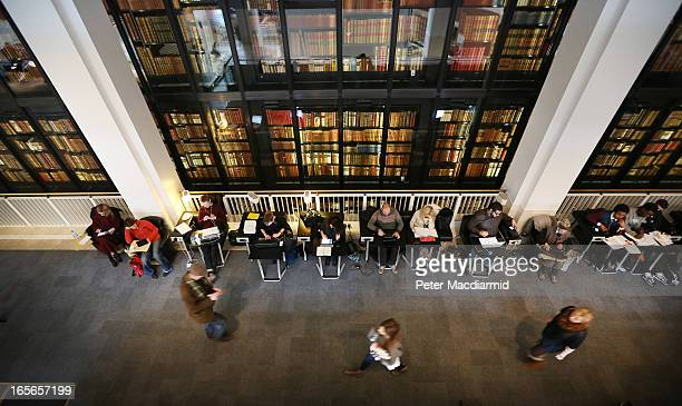Visitors study and use their laptops at The British Library on April 5 2013 in London England The British Library and four other organisations have...