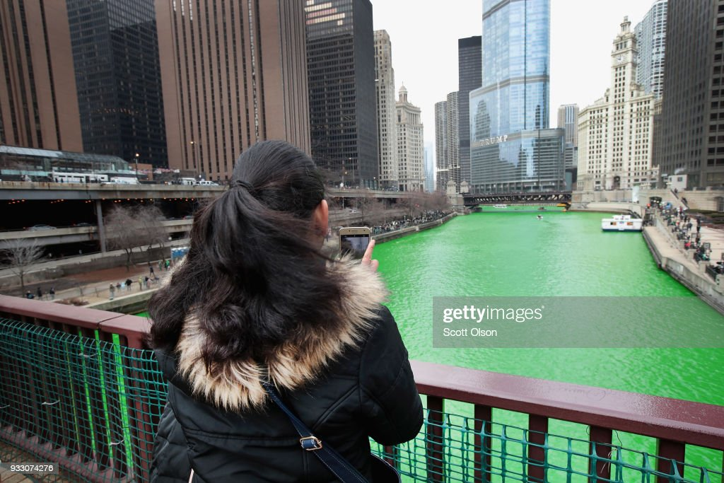 Chicago River Dyed Green In Annual Tradition For St. Patrick's Day : News Photo