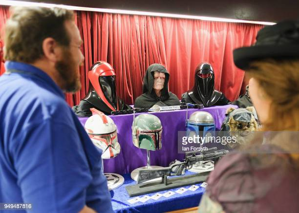 Visitors talk at a Star Wars character stall during the Scarborough Sci-Fi event held at the seafront Spa Complex on April 21, 2018 in Scarborough,...