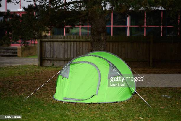 A visitor's tent is seen in a temporary camp site ahead of day three of the epicLAN esport tournament at the Kettering Conference Centre on October...