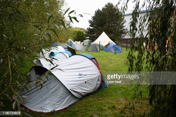 Visitor's tents are seen in a temporary camp site ahead of day three of the epicLAN esport tournament at the Kettering Conference Centre on October...