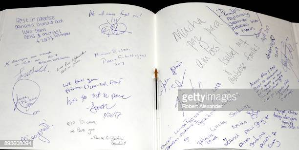 Visitors to a memorial to Princess Diana and Dodi Fayed at Harrods department store in London England can sign and express their thoughts in a...