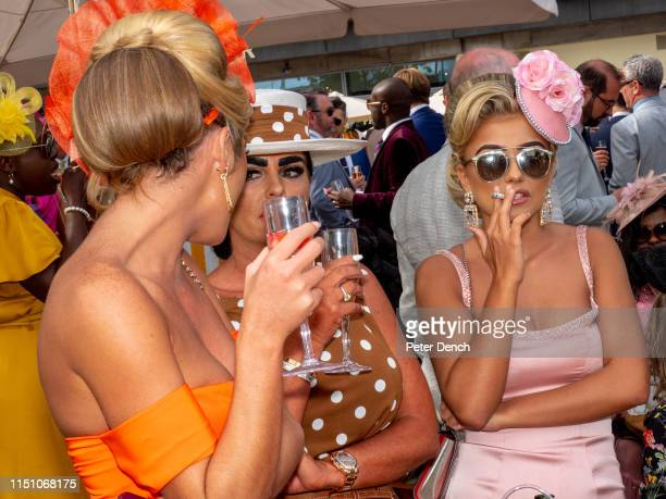 Visitors to day three, Ladies' Day, of Royal Ascot, on June 20, 2019 in Ascot, England.
