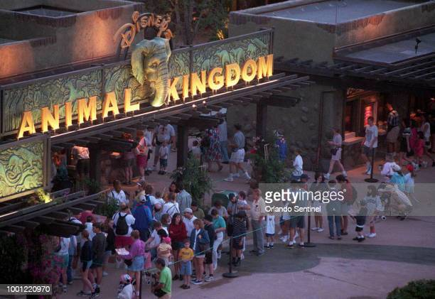 Visitors to Disney's Animal Kingdom line up before sunrise to buy tickets for the grand opening day on Wednesday April 22 1998 A Disney ballerina who...
