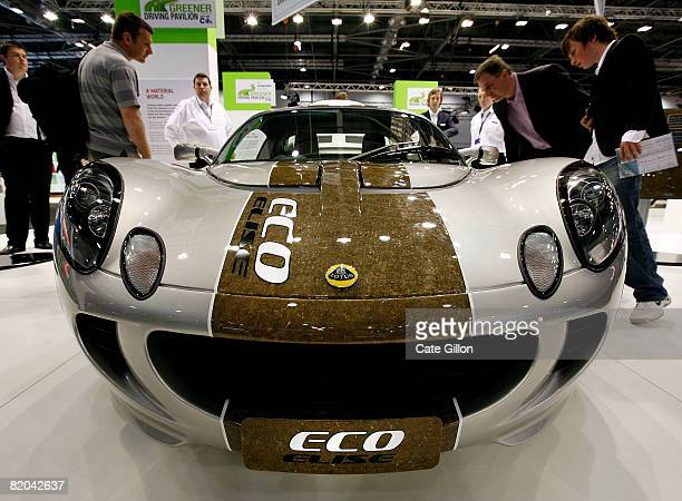Visitors to Excel inspect a concept car the Lotus Eco Elise which is made of hemp and on display at the British International Motor Show on July 23...