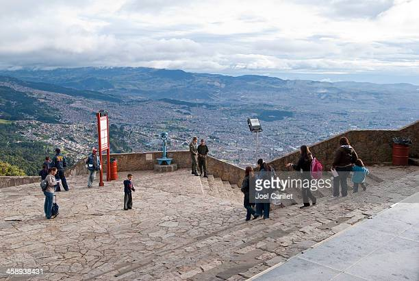 Visitors to Monserrate in Bogota, Colombia