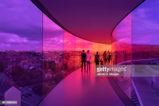 "Visitors to the Art Museum ARoS inside the artwork, ""Your rainbow panorama"" on September 2, 2017 in Aarhus, Denmark. The final weekend of the Aarhus..."