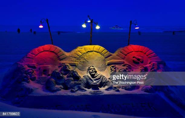 Visitors to the boardwalk at Ocean City were treated to an elaborate sand sculpture by Randy Hofman that was built as part of the 'Jesus at the Beach...