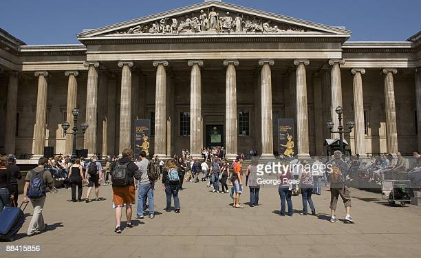 Visitors to the British Museum are seen outside the entrance in this 2009 London United Kingdom cityscape photo