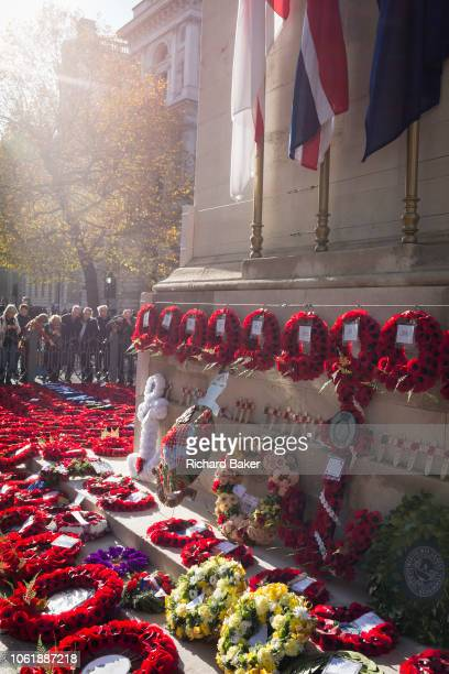 Visitors to the Cenotaph in Whitehall pay their respects to those killed in war and conflict where wreaths were left 2 two days after Remembrance...