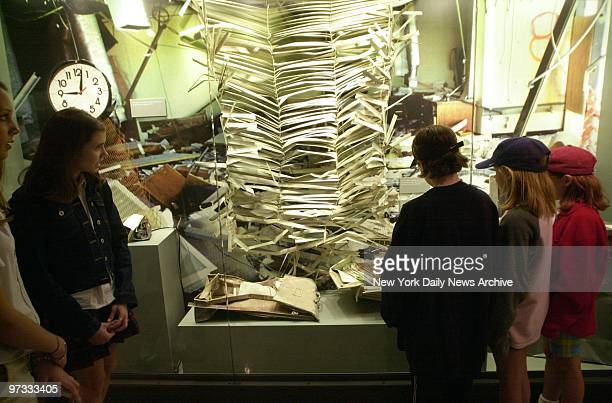 Visitors to the Oklahoma City National Memorial Center view a display of items recovered from the Alfred P Murrah Building which was blown apart on...