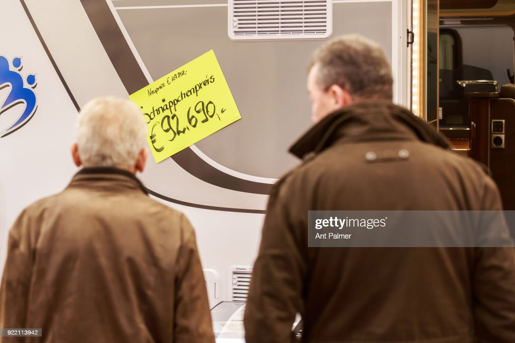 Visitors to the Reise + Camping exhibition inspect a caravan on display on February 21, 2018 in Essen, Germany. The annual event features over 1000 exhibitors from over 20 countries.