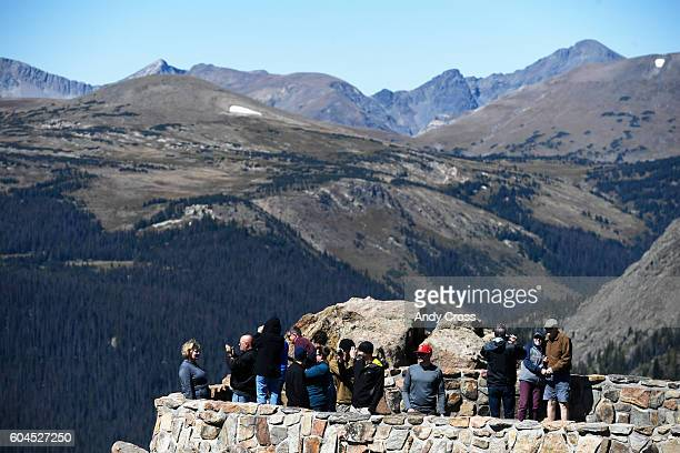 Visitors to the Rocky Mountain National Park get a good view of the Forest Canyon area along Trail Ridge road September 10 2016