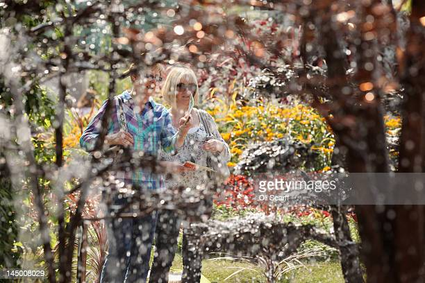 Visitors to the Royal Horticultural Society's Chelsea Flower Show view a water feature display in the sunshine on May 22 2012 in London England...