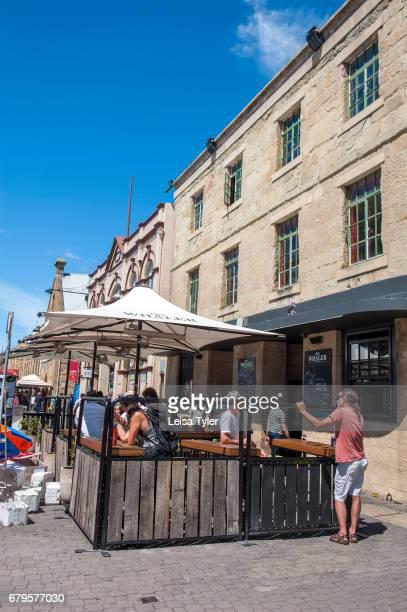 SALAMANCA HOBART TASMANIA AUSTRALIA Visitors to the Saturday Salamanca Market at Salamanca Place in Hobart Tasmania The arts and crafts market is one...