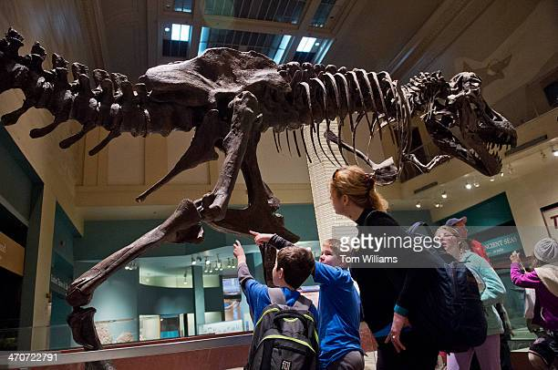 Visitors to the Smithsonian Institution National Museum of Natural History check out the skeleton of a Tyrannosaurus Rex