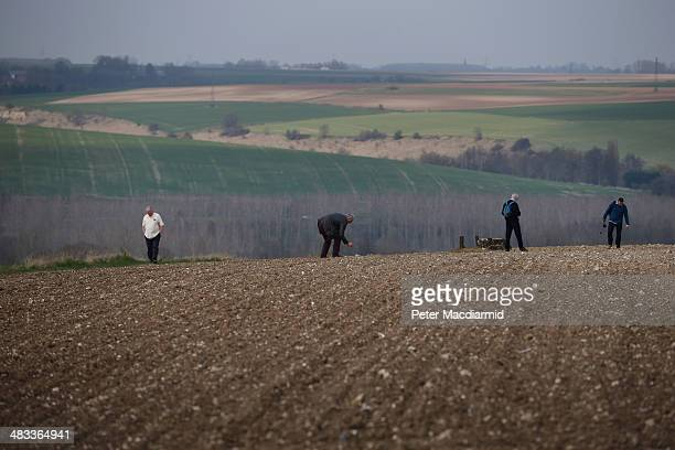 Visitors to the Somme Battlefield look for spent cartridges shell fragments and other artifacts in a ploughed field on March 27 2014 in Thiepval...
