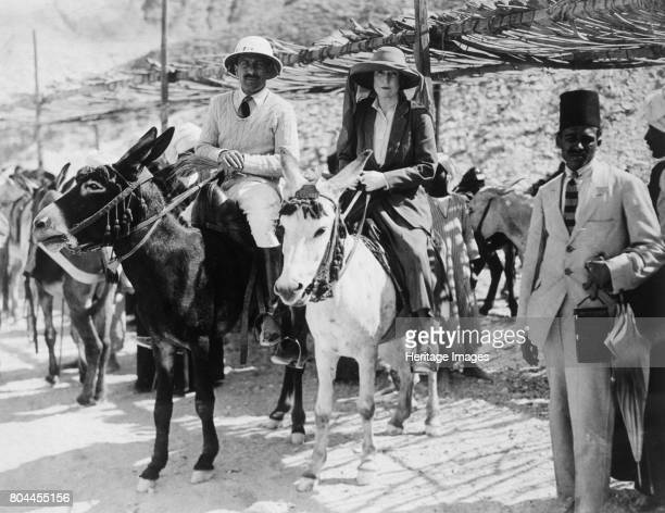 Visitors to the Tomb of Tutankhamun Valley of the Kings Egypt 1922 Lady Ribblesdale and Mr Stephen Vlasto arriving on donkeys The discovery of...
