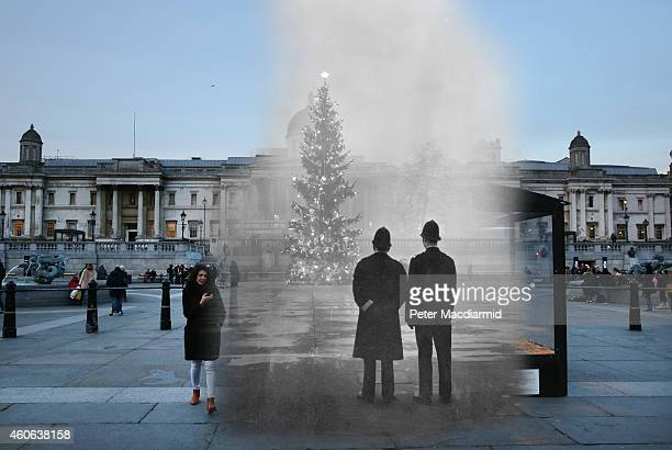 In this digital composite image a comparison has been made of London at Trafalgar Square in 1948 and Modern Day 2014 at Christmas time LONDON ENGLAND...
